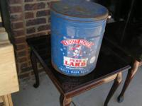 LARGE LARD CAN $25.00 GOOD SHAPE FOR ITS AGE COME BY