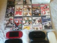 Large lot of PSP and Wii games, 2 PSP's (one works for