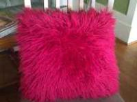 Large shag magenta throw pillow in good shape. Email or