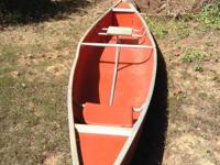 I have a huge, metal canoe, orange in color for sale.