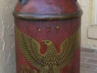 Large Metal Milk Can painted a rustic wood grain