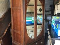 Very Heavy Armoire with Mirrored Front Double Doors,