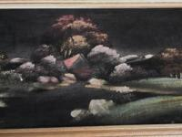 Very old painted picture on velvet cloth with a