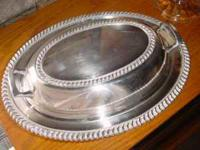 Beautiful silverplated oval serving dish with handled