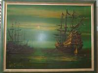 "Large Painting by famous LEE BURR, Ships at Sea ""Mystic"