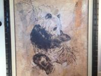 "Large 44""wide x55"" high. Endearing painting of Panda on"
