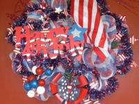 Red, white and blue wreath ready for July 4th! An