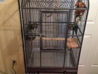 Large domed powder coated gray/black bird cage for