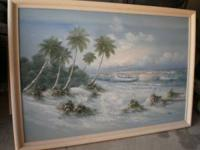 Large seascape canvas painting measures 45 tall x 65