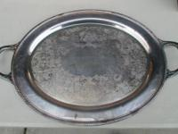 Large Heavy Silver Serving Tray with Engraved Designee