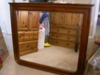 Large Size Wood Framed Mirror Either Bed or Dresser