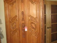 Beautiful large hand carved maple wood armoire country