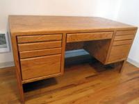 Solid Oak desk, large and heavy!  Surfaces are in good