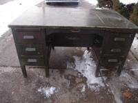 LARGE SOLID WOOD FLIP TOP DESK SIX DRAWER. THESE DESKS
