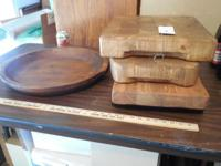 Large serving boards and bowl made from recycled wood.