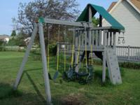 PLAY HOUSE, SLIDE, ROCK WALL, LADDER, 2 SWINGS AND