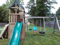 Swing set cost over $3000. Has swirly, covered slide,