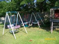 LARGE SWING SET  WITH SLIDE  FAIR COND..  FOR MORE INFO
