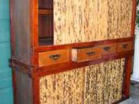 Large 2-piece,Tansu cabinet with  4 sliding bamboo