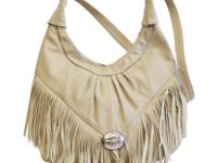 Large Taupe Fringe Soft Leather Hobo Bag