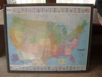 Large map in frame. $15obo. call or text.  Location: N.