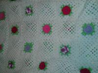 Large vintage open flower Crotched Afghan/blanket.