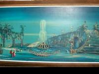 Large Vintage Painting, Lighted. This glorious painting