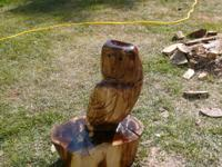 Large owl, chainsaw carved from black walnut.