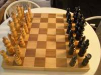 ELEGANT CHESS SET FOR DISPLAY - GAME ROOM WOOD AND IN