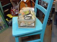 Child's large chair painted aqua color and distressed