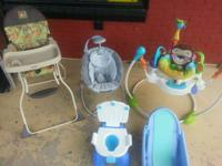This is a big lot of baby stuff. There is a high chair,
