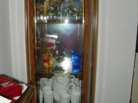 Large Collectible Glass & Oak Curio Cabinet