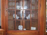 Large built in style corner china cabinet with arched