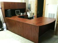 Large Desk with Return and Hutch. Paid over $2,000.00 4