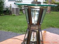 "Large lamp 61""tall 3 ways brass and black $ 15 call"