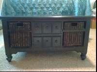 Black distressed solid wood coffee table. Large table