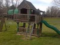 Large Wooden Outdoor Play House / Swing Set. 2 swings,
