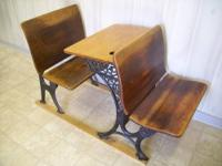 Nice maple and cast iron antique school desk. 2 Folding