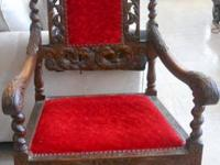 Nice late 19th Century European Carved Throne Chair.