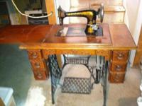 1890'S PATENTED SINGER TREADLE SEWING MACHINE IN FULL