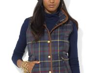 Lauren Ralph Lauren's distinct quilted vest is adorned
