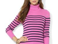 The ribbed cotton striped turtleneck is a cozy