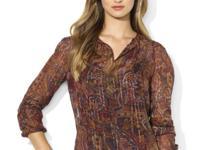 Lauren Ralph Lauren's sheer silk top features a modern