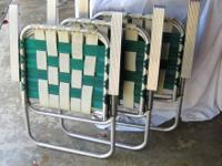 Lot 3 Aluminum Vintage Lawn Chairs, Great for camping,