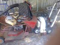 1958 Rider King Mower, back pack blower blower and a