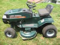 "For sale is a 13 horsepower, 38"" blade Lawn General"