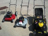 Lawn Mowers in good to great condition. Start at $75.