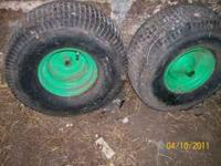 have front and rear tires for a lawn mower. all have