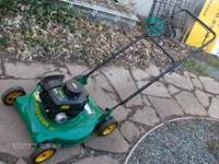 "lawn mower weed eater 4.5 hp 20"" cut mulcher starts and"