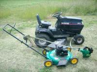Here I have for sale some riding mowers and a push